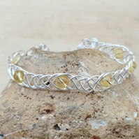 Adjustable Wire wrap Citrine cuff bracelet. November Birthstone