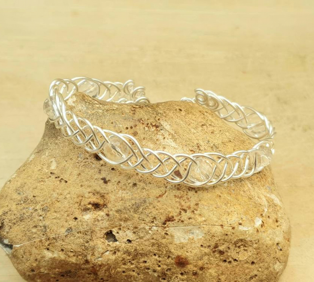 Adjustable Wire wrap Clear Quartz cuff bracelet. April Birthstone