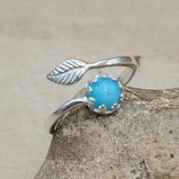 Amazonite leaf ring. Adjustable 925 sterling silver rings for women