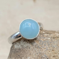 Minimalist Amazonite ring. Adjustable 925 sterling silver rings for women