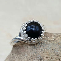 Round Black Onyx ring. 10mm Adjustable 925 sterling silver rings for women