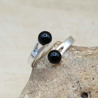 Two Stone Black Onyx ring. 5mm Adjustable 925 sterling silver rings for women