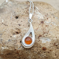 Teardrop Amber pendant necklace. 925 sterling silver