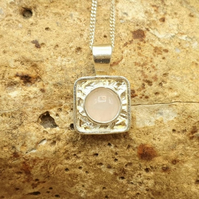 Tiny Square Rose Quartz necklace. January Birthstone