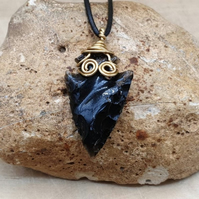 Mens Obsidian Arrowhead necklace. Unisex Wire wrapped pendant