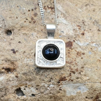 Tiny Square black onyx pendant necklace. December Birthstone