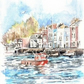 Limited edition print of watercolour Little Red Boat by Ally Tate