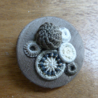 Dorset Button Medley Brooch, Coffee