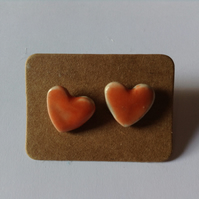 Orange heart ceramic earrings