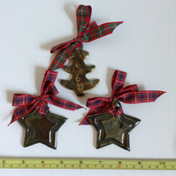 Christmas decorations set - two stars and tree