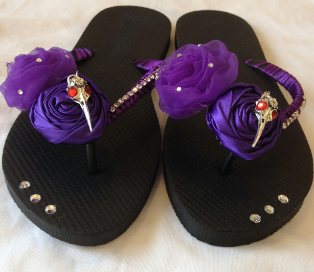 Gothic Goth Wedding Flip Flops Black & Purple Raven Skull