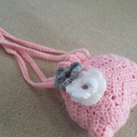 Hand crocheted drawstring bag