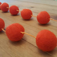Orange Felt Ball Necklace . Statement Necklace