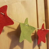 Felt star homespun Christmas garland