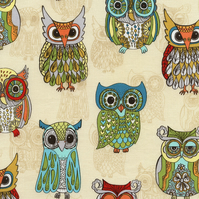Owl Fabric, Timeless Treasures, FQ