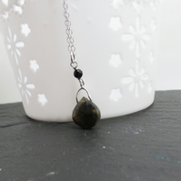 Opal and black agate gemstone pendant and necklace