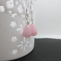 Pink coloured quartzite sterling silver dangle earrings