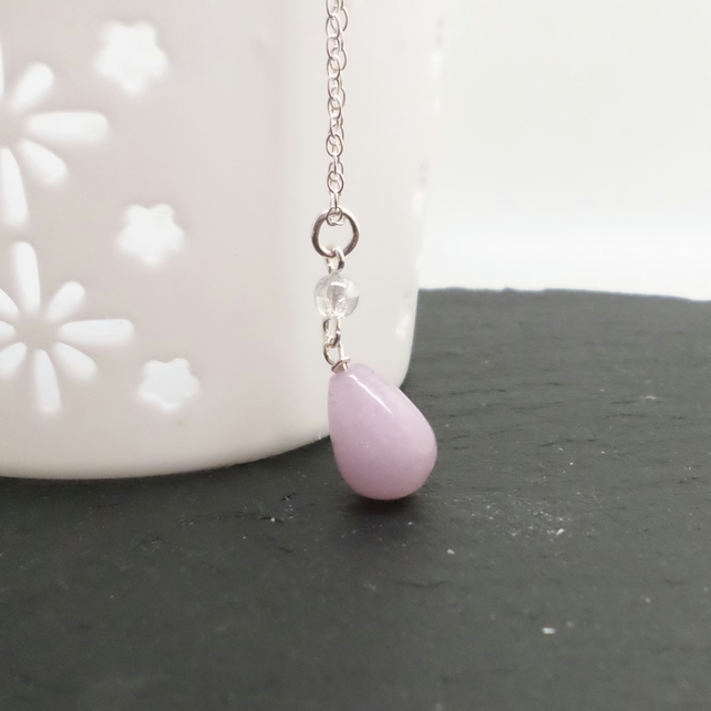Lavender coloured quartzite gemstone pendant and sterling silver necklace