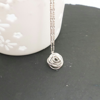 Sterling silver handmade rose pendant and necklace