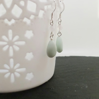 Sterling silver and amazonite green gemstone dangle earrings