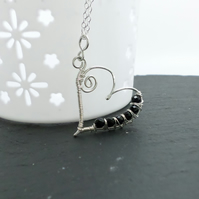 Sterling silver and black agate large heart shaped pendant and necklace