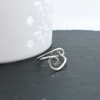Sterling silver swirl effect adjustable ring