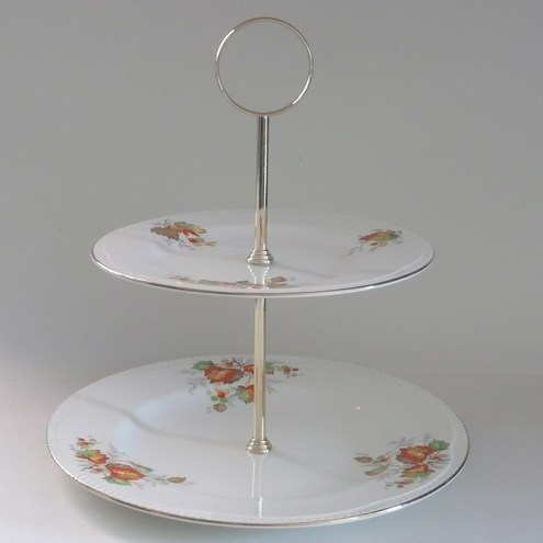 Autumn Leaves Two Tier Cake Stand