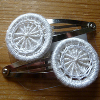 Dorset Button Hair Clips, Pair, White, H1