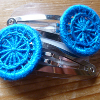 Dorset Button Hair Clips, Pair, Turquoise, H2