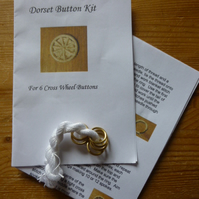 Kit to Make 6 x Dorset Cross Wheel Buttons, White, K8