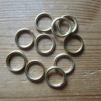 10 x 15mm Hollow Brass Rings for Traditional Dorset Button Making
