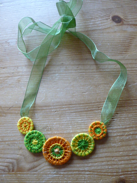 Dorset Button Necklace, Citrus, N3