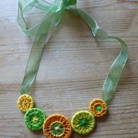 Dorset Button Necklace, Citrus