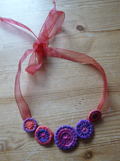 Dorset Button Necklace, Fuchsia 'Voodoo', N4