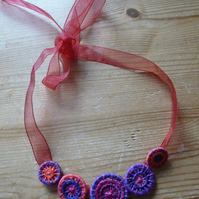 Dorset Button Necklace, Fuchsia 'Voodoo'