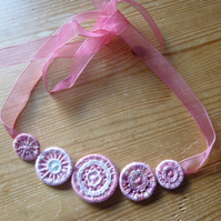 Dorset Button Necklace, Pinks