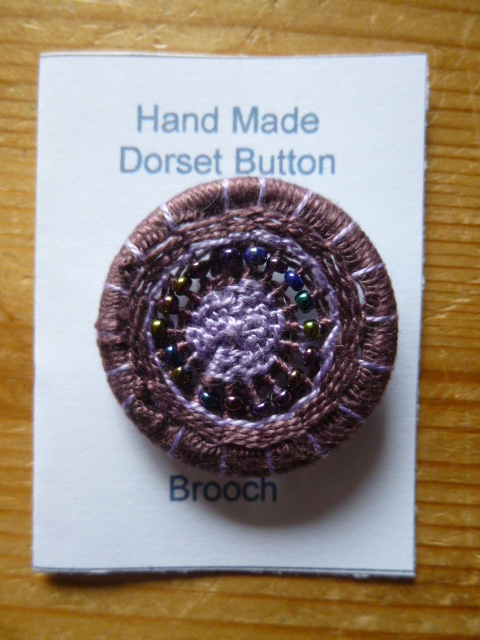 Beaded Dorset Button Brooch, Purple and Lilac, B10