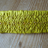 Hand Smocked and Beaded Mustard Silk Hair Clip, H8