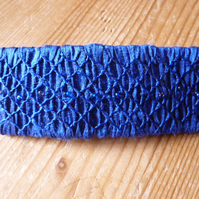 Hand Smocked and Beaded Royal Blue Silk Hair Clip, H13
