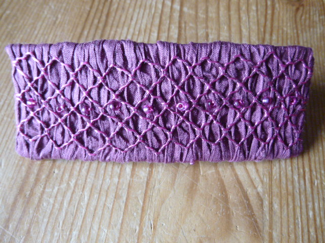 Hand Smocked and Beaded Mauve Silk Hair Clip, H4