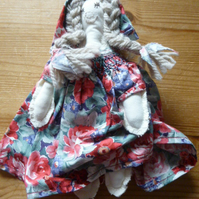 Unique Hand Made Rag Doll with Smocked Red Floral Dress and Matching Bonnet