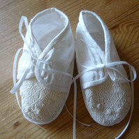 Hand Smocked Silk Christening Shoes, Ivory, age 6 months
