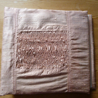 Large Hand Smocked Silk Photograph Album, Coral Pink Colour