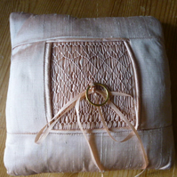 Hand Smocked Silk Cushion for Wedding Rings, Pale Rose Colour