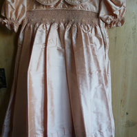 Hand Smocked Silk Bridesmaid's Dress, Pale Rose Pink, to fit age 2