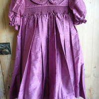 Hand Smocked Silk Bridesmaid's Dress, Purple, to fit age 4
