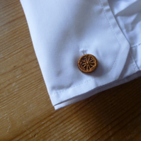 Dorset Button Cuff Links, Golden Brown