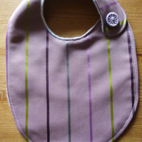 Dorset Button Trimmed Bib, Lilac Stripe (B9)