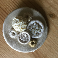 Dorset Button Medley Brooch, Cream, M9