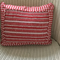 Hand Smocked Red Gingham Cushion